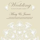 Zaproszenie na ślub. koronkowy biały wzór kwiatowy na złotym tle. — Wektor stockowy