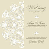 Wedding invitation. Lacy white floral pattern on a gold background. — Stock Vector