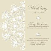 Invitación de boda. lacy patrón floral blanco sobre un fondo de oro. — Vector de stock