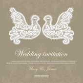 Wedding invitation decorated with lace pigeons. — Stock Vector