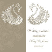Wedding invitation decorated with lace swans — Stock Vector