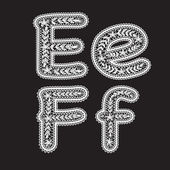 Big and lowercase letters E and F are written in white lace. Lace font for the inscriptions. — Stock Vector