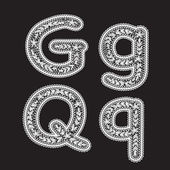 Uppercase and lowercase letters G and Q are written by white lace. Lace type font for the inscriptions. — Stock Vector