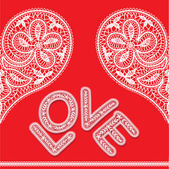 Seamless pattern of openwork lace white heart and word love on a red background — Stock Vector