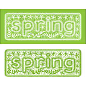 "Lace inscription, label the word ""spring"" soft green — Stock Vector"