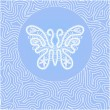 White lace butterfly in blue circle on a blue background — Stok Vektör