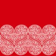 Seamless pattern of openwork lace white heart on a red background to the Valentine's Day — Stock Vector #29208395