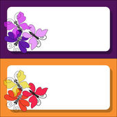 Decorative frame with butterflies for invitations, tickets, congratulations. Purple-pink and yellow-orange background. — Stock Vector