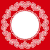 Circular pattern of white lace hearts in the red box to the St. Valentine's Day — Vecteur