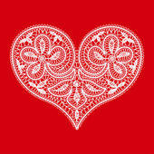 Openwork lace white heart on a red background to the Valentine's Day — Stock Vector
