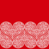 Seamless pattern of openwork lace white heart on a red background to the Valentine's Day — Stock Vector