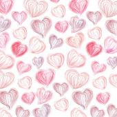 Corazones de color rosa dibujado por un lápiz labial diferente sobre un fondo blanco — Vector de stock