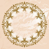 Background in shades of brown with a circular floral ornaments on an abstract background — Stock Vector