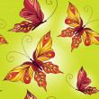 Seamless pattern with butterflies on green background — Stock Vector