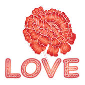 "Inscription ""love"" by red lace letters and red flower — Stock Vector"