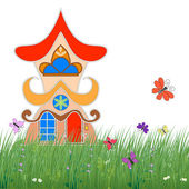 Fairytale house on the green grass with flowers and butterflies on a white background — Stock Vector