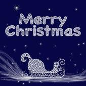 クリスマス カードをそりをスターにした白いレースとクリスマスの青色の背景に雪の雲に — ストックベクタ