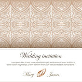 Wedding invitation decorated with lace and wedding rings — Stock Vector