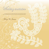 Wedding invitation decorated with white lace bird — Stock Vector