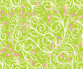 Seamless pattern with leaves, branches, stems and berries in green colors — Stock Vector
