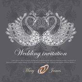 Wedding invitation decorated with white lace swan — Stock Vector