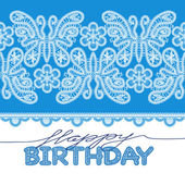 Birthday card with lace letters, butterflies, flowers — Stock Vector