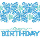 Birthday card with lace letters, butterflies, flowers — 图库矢量图片