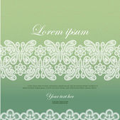 Wedding invitation decorated with white lace butterflies — ストックベクタ
