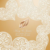 Wedding invitation decorated with white lace hearts and gold wedding rings — Vector de stock