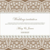 Wedding invitation decorated with white lace and pearls — Vettoriale Stock