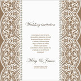 Wedding invitation decorated with white lace and pearls — Cтоковый вектор