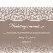 Svatební pozvání zdobené bílou krajkou a perly — Stock vektor