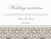 Wedding invitation decorated with white lace and pearls — ストックベクタ