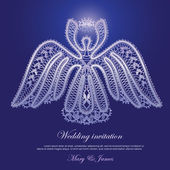 Wedding invitation decorated with lace shining angel — Stock Vector