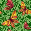 Seamless pattern with butterflies on a background of leaves — Vettoriali Stock