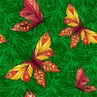 Seamless pattern with butterflies on a background of leaves — Stock Vector