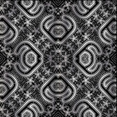 Seamless lace pattern white and black — Stock Vector