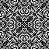 Blanco y negro patrón de encaje transparente — Vector de stock