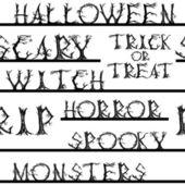 Seamless pattern by Halloween words — Vetor de Stock