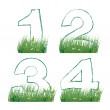 Numbers of the alphabet in the grass — Stock Vector