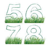 Numbers of the alphabet in the grass — 图库矢量图片