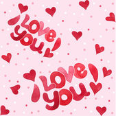 """Seamless pattern """"I love you"""" — Stock Vector"""