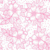 Seamless pattern with wild rose flowers — Stock Vector