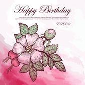Invitation card, greeting with wild rose flowers — Stockvektor