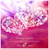 Wedding invitation decorated with white hearts — Stock vektor