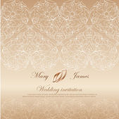 Wedding invitation decorated with white lace — Vector de stock
