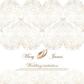 Wedding invitation decorated with white lace — Stock Vector