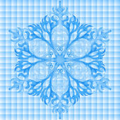 Seamless pattern with watercolor blue snowflake and lace — Stockfoto
