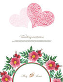 Wedding invitation decorated with lace hearts and watercolor wild roses — Vettoriale Stock