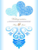 Wedding invitation decorated with lace heart and watercolor ancient greek pattern — 图库矢量图片